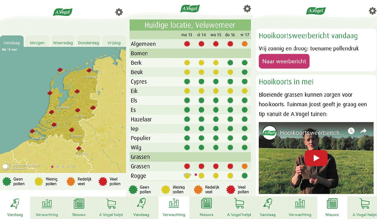 Hooikoorts-app voor iPhone en Android | pollenweerbericht | A.Vogel
